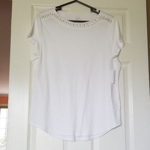 White Bedazzled Cotton Top